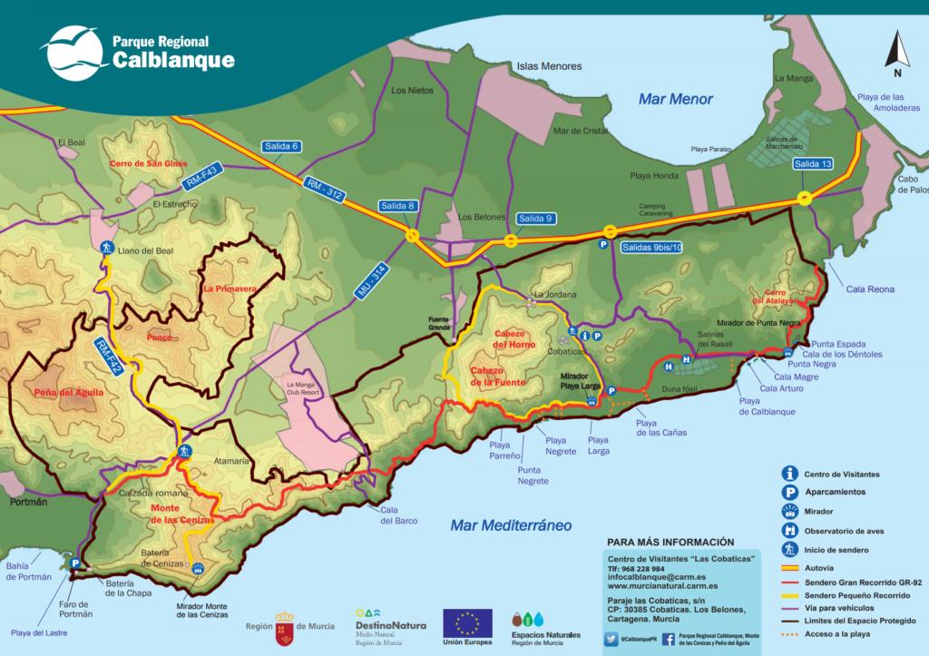 Nationalparken Calblanque söder om Mar Menor har många leder för vandring och mountain biking