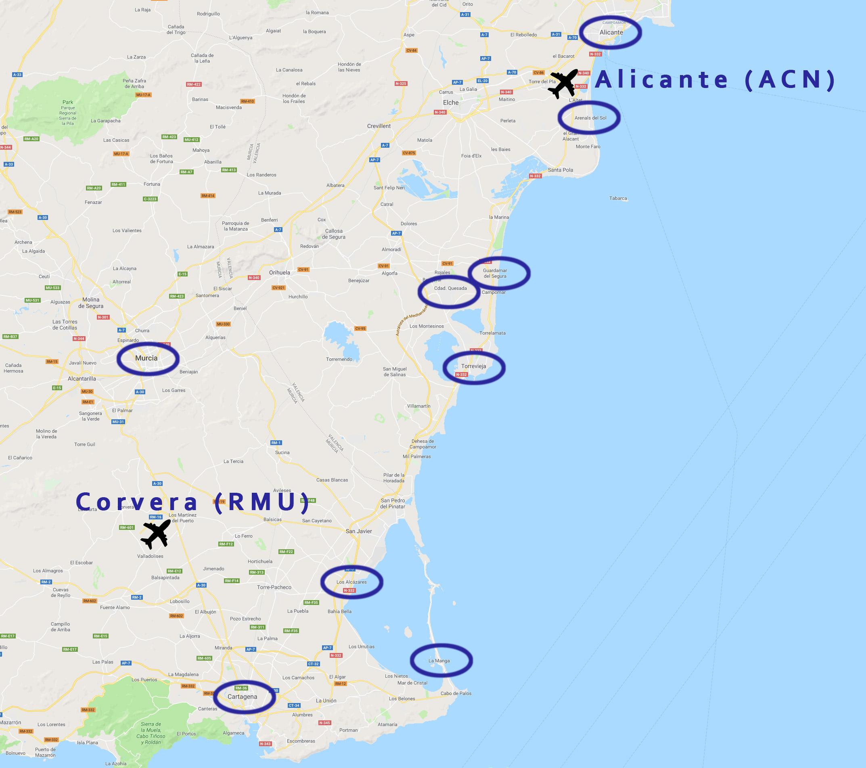 Karta med flygplatser och orter på Costa Cálida och Costa Blanca